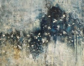 Large Abstract Painting Landscape painting Meadow Prarie Blue and Gold  painting  NeverEnding   24 x24   Swalla Studio