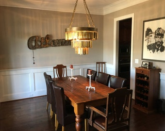 Aged Brass Chandelier using steel and solid brass with 5 light sockets