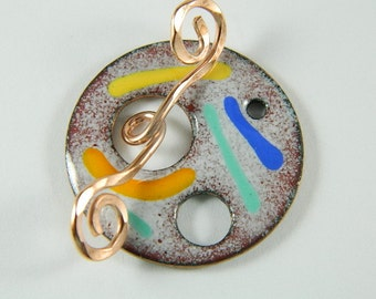 Enameled Focal Toggle Clasp with Copper Wire Toggle Bar-2