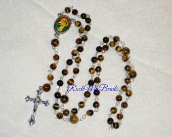 Tiger Eyes Rosary,Rosary,Rosary Chain,Catholic Rosary, Catholic,Rosary Supplies,Rosaries,Rosary Necklace, Prayer Beads