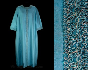 1960s XL Hostess Dress - Size 16 Aqua Blue Sheath with Metallic Trim - As Is - Best for Stage or Costume - Saks 5th Ave - Bust 43 - 46850