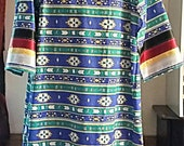 Ribbon Dress - Womens or Girls - Blue - Green with Black Red Yellow and White Ribbon - Regalia