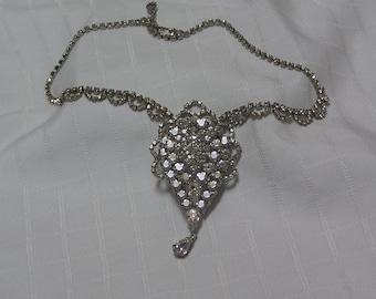 vintage large layered clear sparkling rhinestone scalloped design bridal pendant necklace