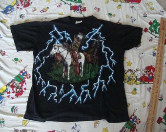 Vintage American Thunder Indian Native American on Horse Lightning Bolts punk rock hipster Heavy Metal T Shirt XL