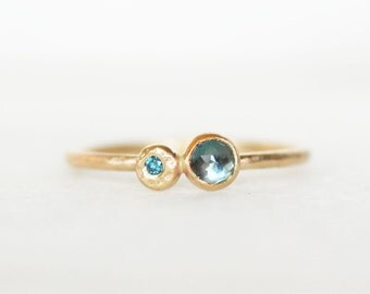 London Topaz Blue Diamond Stacking Ring - Skinny 1.3mm 14k Gold Stack Ring - Topaz and Diamond ring