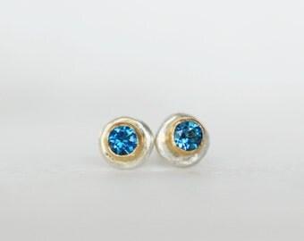 Tiny London Topaz Post Earrings - 18k Gold and Sterling Silver Post Earrings