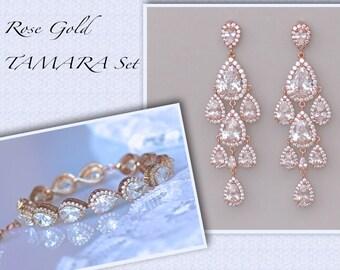Rose Gold Bridal SET, Bridal Earrings & Bracelet Set, Teardrop Earrings Set, Wedding Jewelry Set, Clip On Earrings Option, TAMARA RG Set
