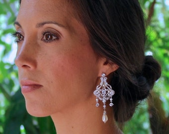 Chandelier Earrings, Crystal Bridal Earrings, Vintage Wedding Jewelry, Statement Earrings,  NINA 2