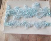 Light blue wedding garter  pearl beaded lace wedding garter set, baby blue garter set, blue bridal garter, something blue garter