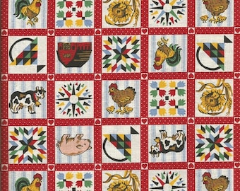 Fabric Country Farm Themed Patchwork Fabric (2 yards)