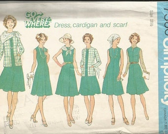 Vintage Simplicity 7360 Half Size  Dress, Cardigan and Scarf Pattern SZ 18 1/2