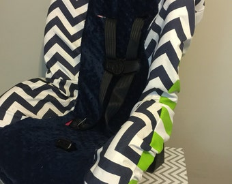 MINKY & CHEVRON Navy and white lime green stripes zigzag toddler Car Seat Cover