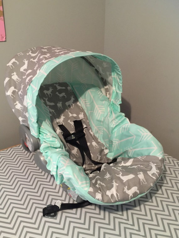 Tribal Arrows Deer Gray Amp Mint Fabric Infant Car Seat Cover