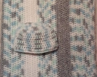 Crochet Baby Blanket and Matching Beanie Set in Light Blue, Silver and White