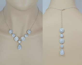 Bridal Crystal Necklace, Wedding Jewelry, Silver or Rose Gold Tone, Backdrop, Tear Drop, Celia - Will Ship in 1-3 Business Days