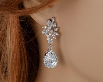 Bridal Earrings, Cubic Zirconia Crystals, Teardrop Pendants, Stud Earrings, Abigail - Will Ship in 1-3 Business Days
