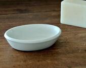 WHITE Ironstone Soap Dish