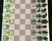 Chess Set Green in the Grey Metropolis