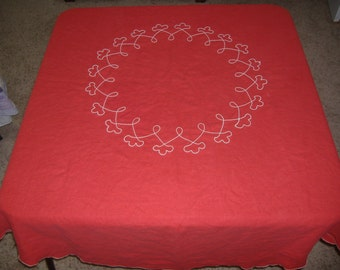 "Red Round Embroidered Tablecloth, 66"": Christmas, Valentine"