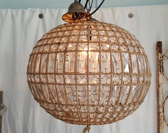 French Beaded Ball Chandelier