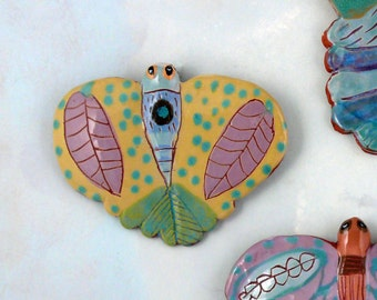 Ceramic wall art, hand made butterfly, gardener gift