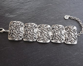 Scribble Pattern Inspired Ethnic Statement Bracelet - Authentic Turkish Style