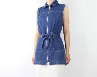 VINTAGE Denim Shirt Sleeveless Top Belted