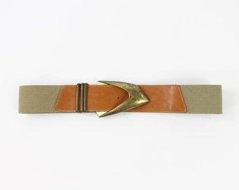 Vintage Wide Leather Belt 1980s Big Buckle
