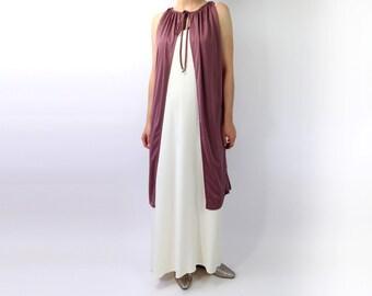 VINTAGE 1970s Dress Open Cover Top Drawstring Tie Mauve Purple