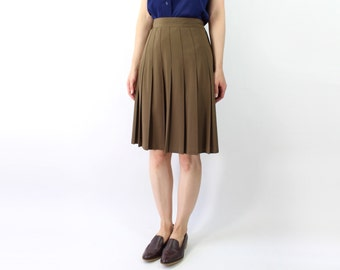 VINTAGE 1980s Pleated Skirt Brown Olive