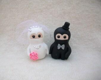 Bride and groom ninja wedding cake topper