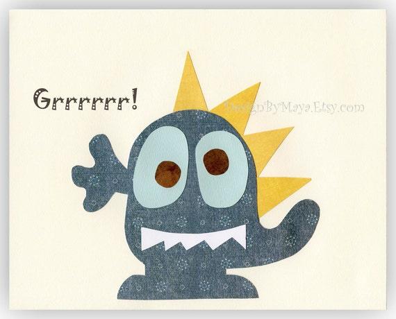 Baby room wall art, Nursery Art Decor, Kids Print, monsters...Grrrrr..blue monster..baby boy