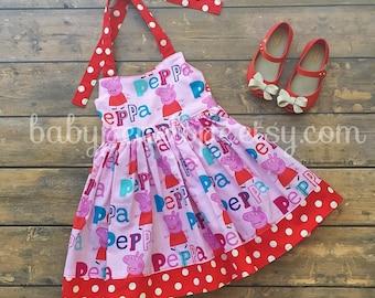 Reserved listing for navneetsekhon The Marilyn Dress - Peppa Pig - Peppa Birthday Dress - Peppa Outfit - Peppa Birthday
