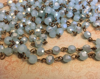 SALE Vintage Style Handmade in USA Linked Rosary style Chain Pale Serenity luster flash Flat faceted crystal beads