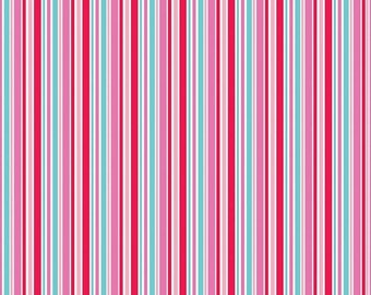 Summer Clearance Lovey Dovey Riley Blake Fabric - 1 Yard Red Stripes