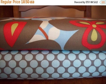 Fall Clearance Amy Butler Fabric Half Yard Set - Full Moon Polka Dot in Slate and Morning Glory in Linen