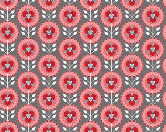 Desert Bloom Fabric Medallion in Gray by Amanda Herring - Half Yard