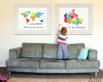 Kids Wall Art World Map Print Childrens Wall Art Kid - World map for playroom