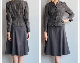 20% Sale 1940s Suit // Skyscraper Wool Suit // vintage 40s 2pc suit