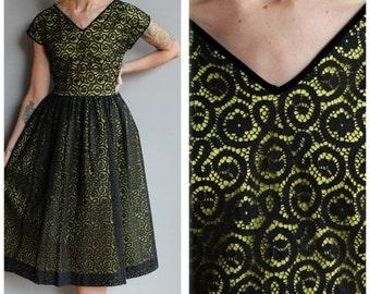 20% Sale 1950s Dress // Mesmerizing Web Dress // vintage 50s party dress