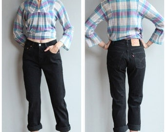 1990s Denim Jeans // Black 505 Levi's Jean // vintage 90s denim pants