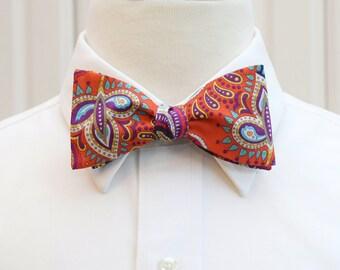 Men's Bow Tie, orange and navy paisley Liberty of London Eastern Journey design, groomsmen's gift, wedding bow tie, groom bow tie, prom tie