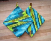 Crocheted Cotton Potholders - Set of Two