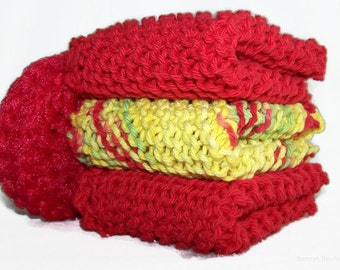 Dishcloth hand knitted red yellow