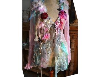 RESERVED Unique Lovely Feminine Romantic  Transparent Jacket APPLE BLOOSOM Fairy Antoinette Boho Tattered