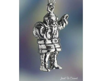 Sterling Silver Kris Kringle Santa Claus Charm Christmas 3D Solid .925