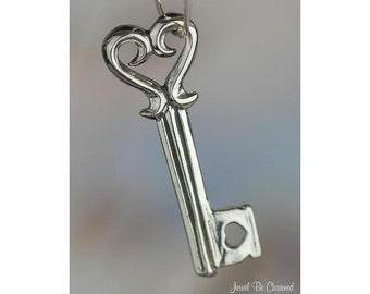Sterling Silver Key to My Heart Charm Love Valentines Day 3D Solid 925