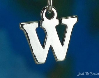 Sterling Silver Capital Letter W Charm Initial Alphabet Solid .925