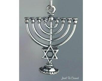 Sterling Silver Menorah Charm Chanukah Hannukah Jewish 3D Solid .925