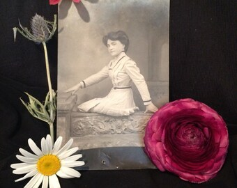 Real Photo Postcard of Beautiful Victorian Woman - Antique Photo
